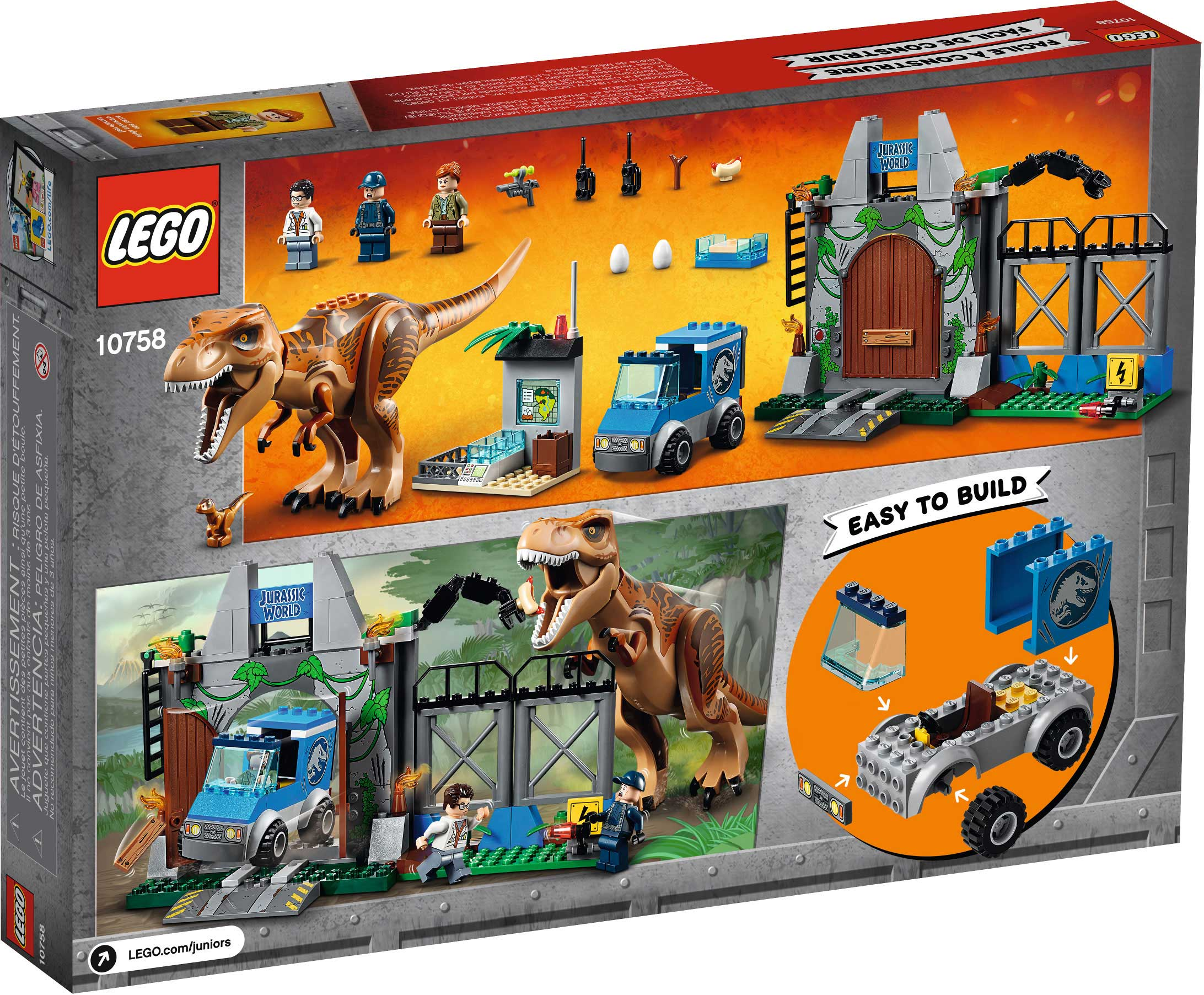 10758 LEGO Juniors Jurassic World T Rex Breakout Box Back 1